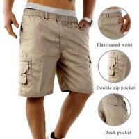 76 New Men's Elastic Waistband Shorts Casual Cargo Combat Solid Color Carpi Pant
