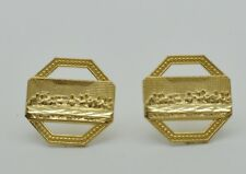 10k Solid Yellow Gold Mens Last Supper Stud Earrings 9mm