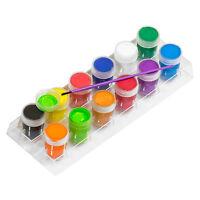 Pack of 12 Colour Poster Paints & Paintbrush Childrens Paint Brush Art Craft Set