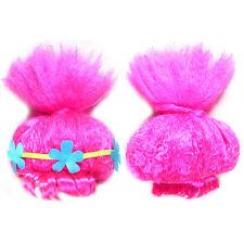Trolls Poppy Princess Wig Hair Flower Headband Kids Girls Cosplay Party Toy Hair