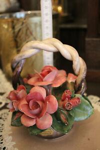 Capodimonte  Porzellan 1 Korb voll Rosen  Italien Handarbeit