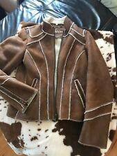GUESS Jacket S Camel nude Faux Fur Sherling coat Denim Jeans,  EUC, free ship.