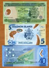 SET Solomon Islands, $2;5;40 ND (2001-2019), 3 Different Polymer Notes, UNC