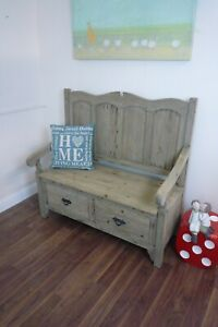 Monks Bench In A Weathered Oak Finish - Two Seater Rustic Bench
