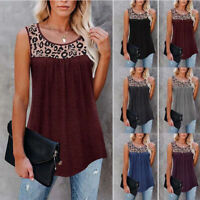 Women's Leopard Print Blouse Round Neck Sleeveless Vest T-shirt Loose Tank Tops