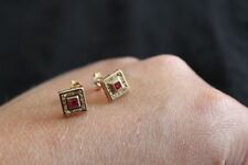 9ct Yellow Gold Diamond and Ruby Earrings