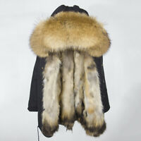 DHL 2019 manteau de fourrure naturel véritable veste d'hiver femmes longue Parka