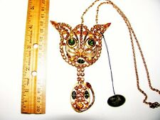 HUGE VINTAGE D&E JULIANA RHINESTONE CAT PENDANT NECKLACE w ORIG TAG~CAT RESQ