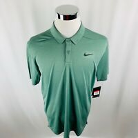 Nike Golf Dri-Fit Olive Green Short Sleeve Polo Golf Shirt Mens Large L