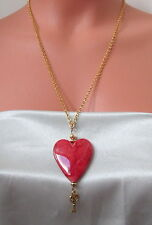 "RED VALENTINE ""LOVE"" HEART w/ Skeleton Key Replica CHAIN Pendant NECKLACE"