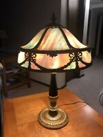 Antique 12 Panel Slag Glass Two (2) Light Beaux Arts Parlor or Study Table Lamp