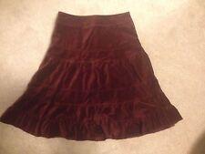 $148 NWT Anthropologie Odille Tiered Burgundy Wine Red Velvet Skirt 4 S