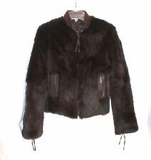 JUNE Reversible Dark Brown Rabbit Fur Leather Trim  Jacket Size S