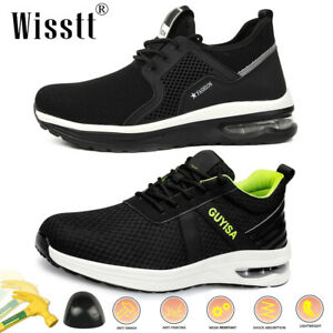 Men's Steel Toe Work Safety Air Trainers Ankle Labor ESD Breathable Sports Shoes
