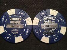 "Harley Poker Chip (Blue & White) ""Southern Thunder"" Southaven MS ORIGINAL DESIGN"