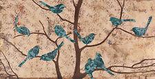 Fabrice de Villeneuve 'The Gathering - Blue' Giclee Canvas Painting. 80x40cms