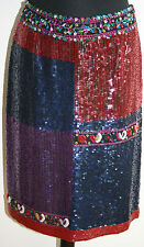 Auth. ARMANI Skirt Sequinned Silk Evening Wear S/UK8/IT38 Blue-Red-Purple Beaded