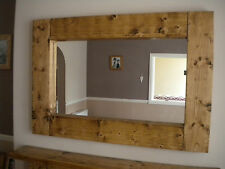 Hand made chunky bespoke rustic pine/shabby chic distressed mirror made to order