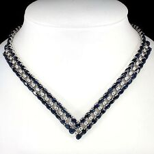 347.10 CT. RARE NATURAL 6x4mm DEEP BLUE SAPPHIRE STERLING 925SILVER NECKLACE