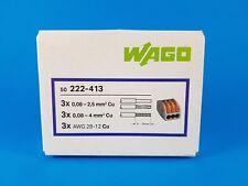 boite de 50 wago 3 entree pour fil souple et rigide 222-413