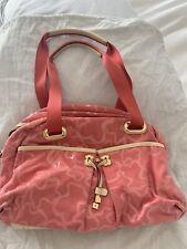 Tous PINK Crossbody Or Shoulder Purse Bag Leather Trim Gold Hardware