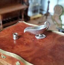 STUART MCCABE DOLLHOUSE MINIATURES STERLING SILVER GRAVY BOAT & NAPKIN RING