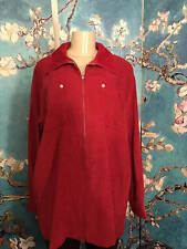 DENIM & CO. L RED FAUX SUEDE ZIP DOWN FRONT COLLAR LONG SLEEVE TUNIC TOP/JACKET