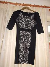 Lovely Black & White Designer Pencil Dress by ZARA: Size M Very Good Condition