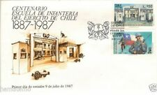 Chile 1987 FDC Centenario de la Escuela de Infanteria del Ejercito army