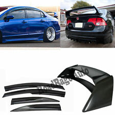 For 06-11 Honda Civic 4Dr Si Sedan Mugen Style Window Visor + RR Spoiler Wing