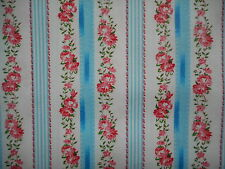 Pretty unused vintage cotton fabric - 1yd lengths, striped, ticking like, roses