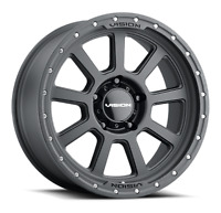 """17"""" Vision Offroad Ojos 17x9 Satin Black Stainless Bolts 6x5.5 Wheel 12mm Rim"""