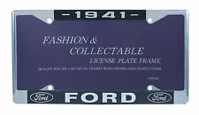 1941 Ford License Plate Frame Chrome Finish with Blue and White Script