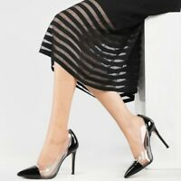 Women's Stiletto High Heels Transparent Pumps Fashion Pointed Toe Shoes Slip On