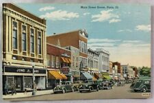 Antique Postcard Main Street Paris Illinois Drug Store Fashion Old Cars +