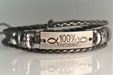 Christian Bracelet ANTIQUED SILVER - MULTI BRAID Design BLACK 100% CRISTIANO