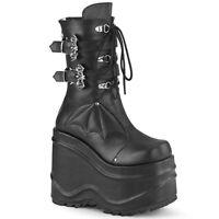 Demonia WAVE-150 Black Women's Mid-Calf & Knee High Boots