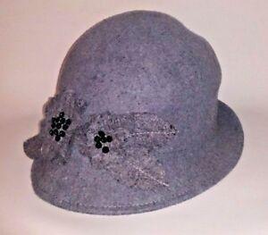 East Grey Elegant Pure Wool Hat Women's Lady's Floral Detail Designer Size M L