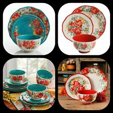 The Pioneer Woman Vintage Floral 12-Piece Dinnerware Set, Teal Red