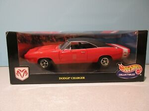 NEW Collectible 1:18 Scale RED/BLACK 1969 DODGE CHARGER R/T By HOT WHEELS