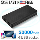20000mAh 4 USB Power Bank Pack Charger Backup External Battery for Cell Phone