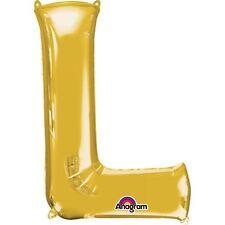 """Lettres L doré Ballon plat 16 """" 40cm REMPLISSAGE D'air âge nom anniversaire"""
