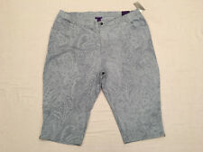 CATHERINES Womens Blue/Gray Paisley Print Zipper Leg Stretch Shorts, Sz 32W, NWT