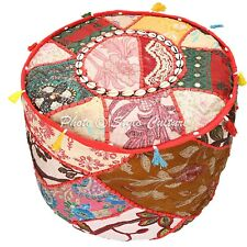 Ethnic Vintage Soft Ottoman Cover Round Patchwork Pouf Stool Furniture Lounge