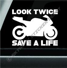 Look Twice Save A Life Vinyl Decal Bumper Sticker Sport Bike Awareness Sticker