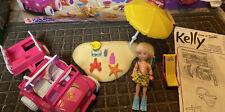 "Barbie KELLY Seashore 4"" x 4"" Playset w Jeep Wrangler Vehicle  Rare Car"