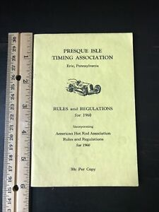 VINTAGE 1960 PRESQUE ISLE TIMING ASSOC. RULES AND REGULATIONS BOOKLET