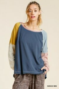 Umgee Indigo Mix Color Block Long Sleeve Knit Top