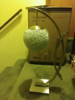"""26"""" New Chrome Midcentury Modern Table Lamp w/ Brutalist Wire ball Shade"""