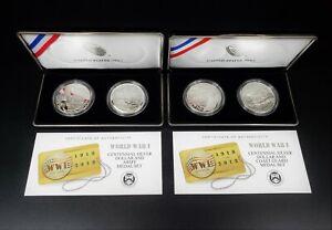 Lot of 2 U.S. Mint 2018 WWI Silver Dollar Army & Coast Guard Sets - BBJ1021